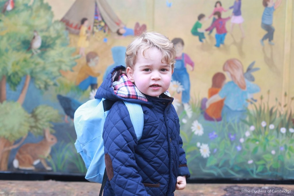 Prince George first day at Westacre Montessori School in January 2016.