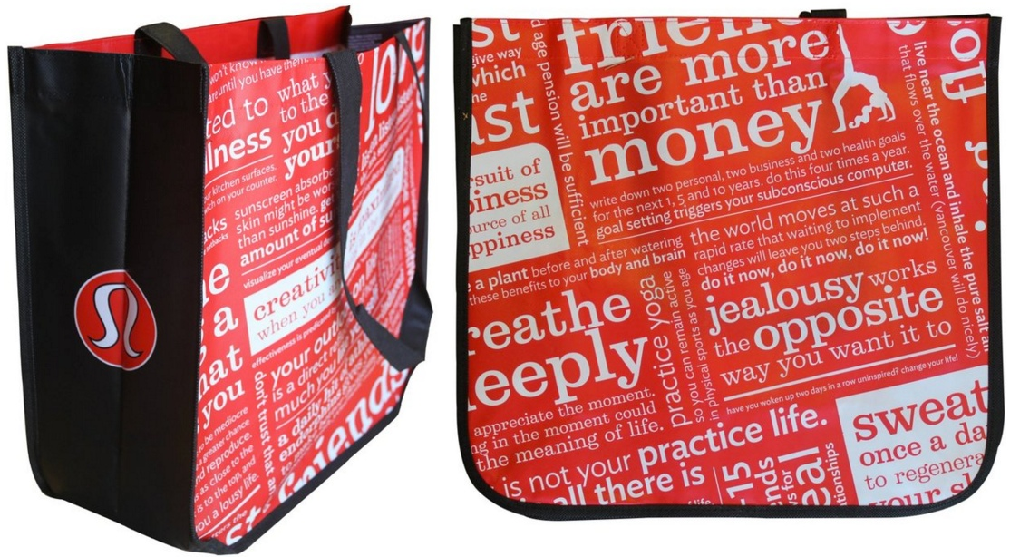 Lululemon Tote Shopping Bag Red Black White Kate Feb 22
