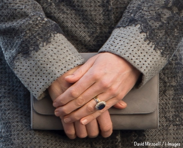 Kate  Commonwealth Day March 14 Gray Erdem Coat Tight Shot Hands Emmy Clutch David Mirzoeff  i-Images 600 x 500