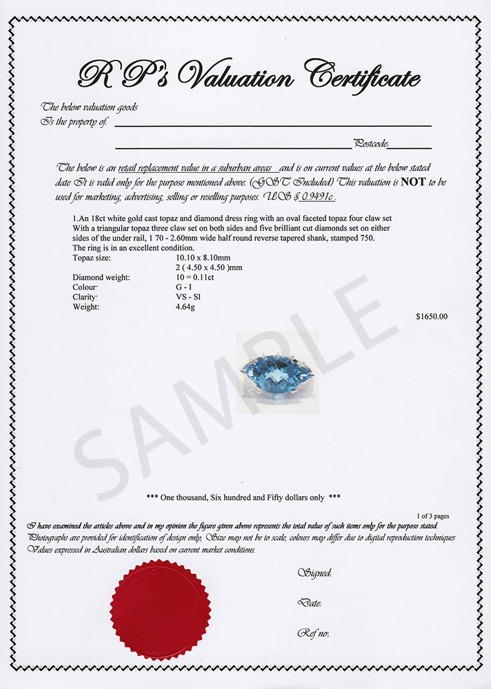 jewellery insurance valuation template  valuation-certificate - What Kate Wore