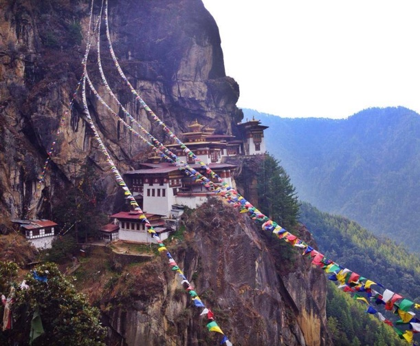 Hike Bhutan Monastery Brooke prayer flags Picture