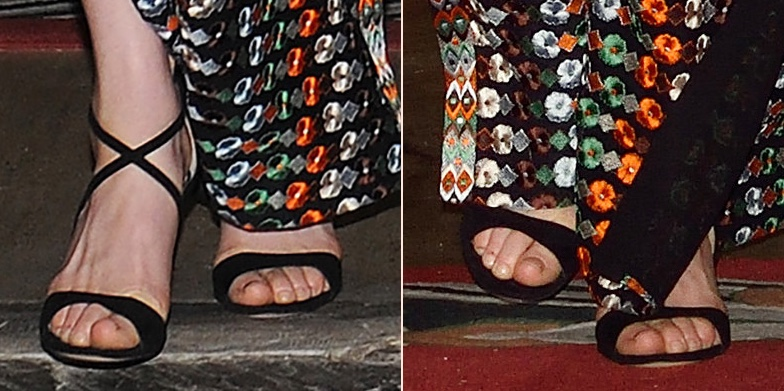 Kate Bhutan Dinner Sandals Shoes Feet Closeups Gianvito Rossi Criss Cross or Sisely Sandals Tory Burch Gown April 14 2016