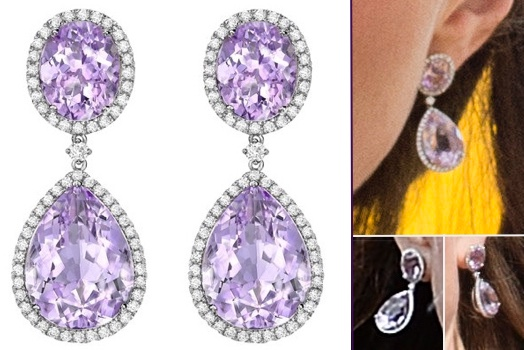 It S A Bhutanese Kira For Kate At Welcome Ceremony Shimmering New Earrings More Bhutan Purple Comparisons Kiki Lavender Amethyst Pear And