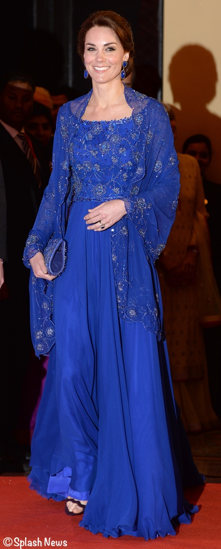 kate glitters at gala fundraiser in royal blue jenny