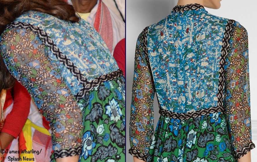 Kate India Tour Day 3 Kaziranga Anna Sui Dress From Back Splash April 12 2016