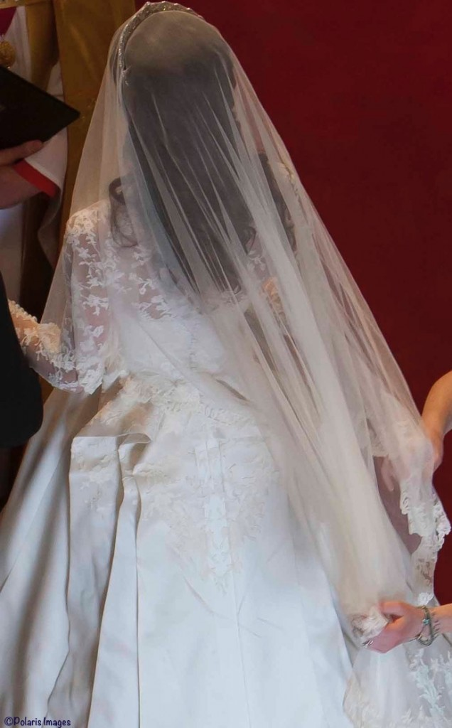 Kate Wedding Gown in Abbey Shot from Above Sarah Burton Adjusting Gown April 29 2011 Polaris