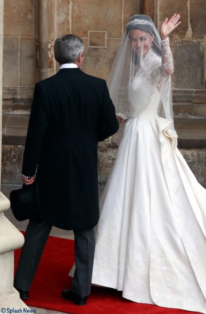 Kate Middleton Entering Westminster Abbey Waves to Crowds Sarah Burton Wedding Gown