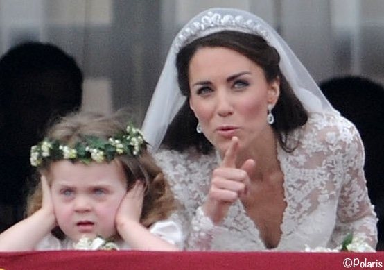 Kate William Wedding Balcony Grace Van Cutsem Covering Ears