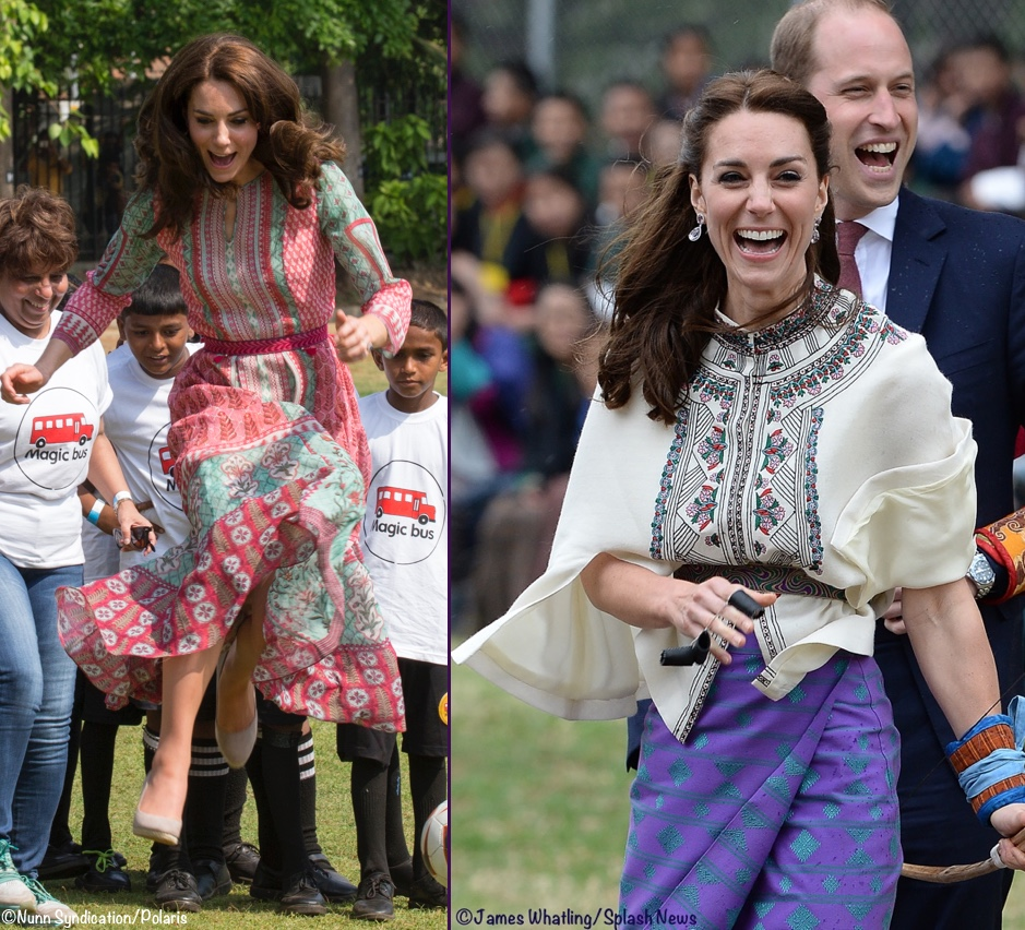 e24e12681646 2 New Engagements   Kate s Tour Style by the Numbers » Kate Anita Dongre  Magic Bus Kids Jumping in Air and Bhutan Paul Joe Cape Kira Style Skirt