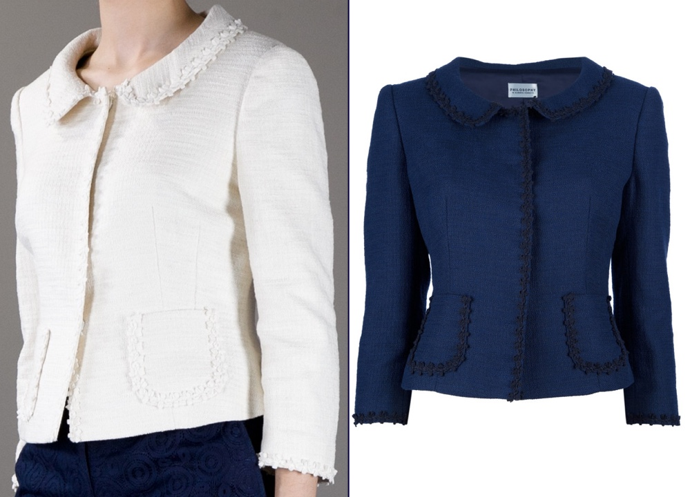 Kate New Chris Jelf Official Photo May 25 2016 Alberta Ferretti Philosophy Jacket White and Navy Blue Montage