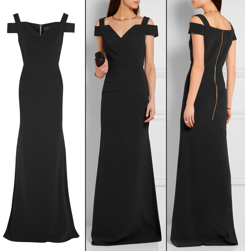 black Roland Mouret off shoulder gown