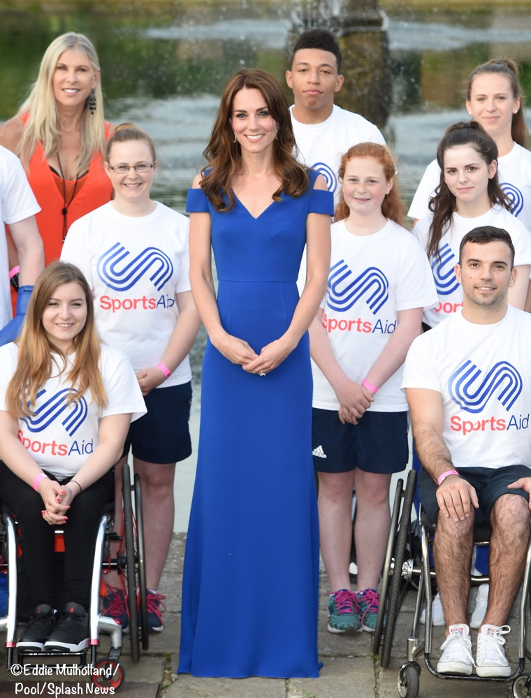 Duchess Cambridge Kate blue Roland Mouret off shoulder gown sports aid