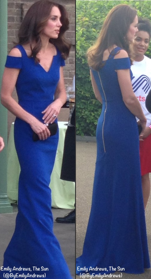 Duchess Cambridge Kate blue Roland Mouret off shoulder gown sportsaid