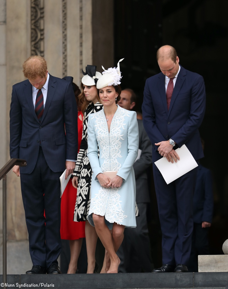 kate in catherine walker for church service honoring queen