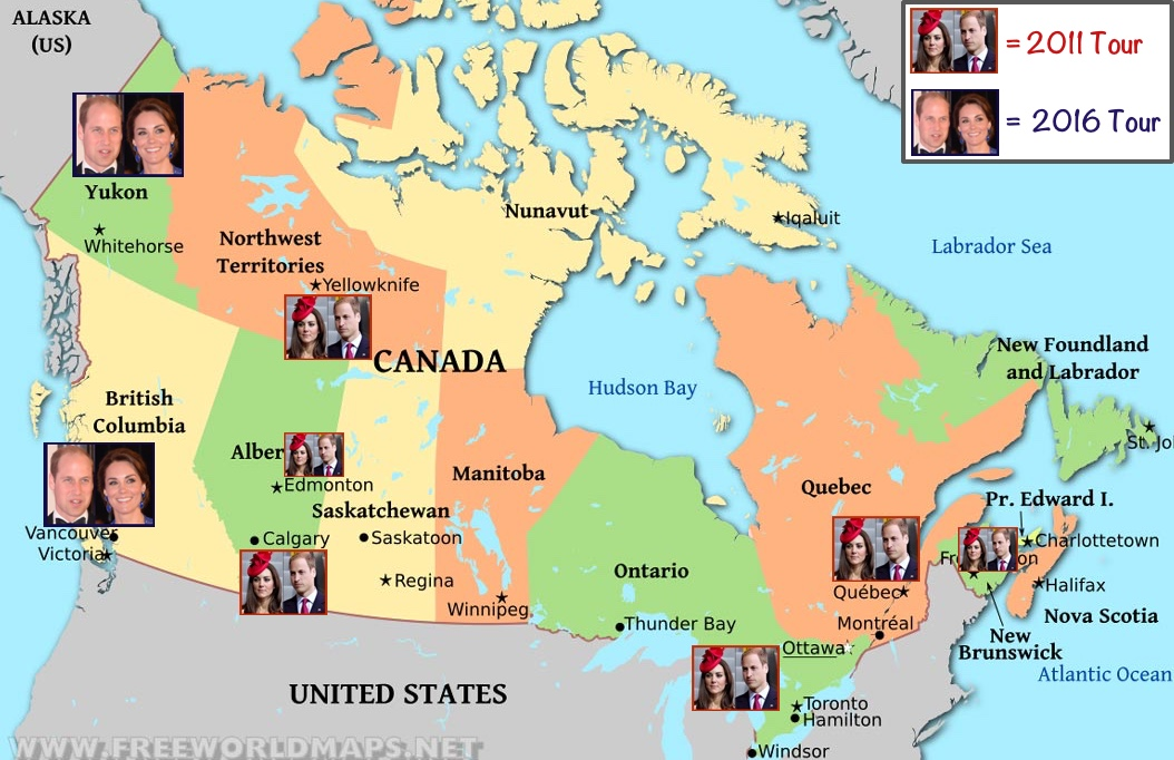 2016 Canada Tour Map Showing 2011 Stops and 2016 Planned Stops Made July 27 2016
