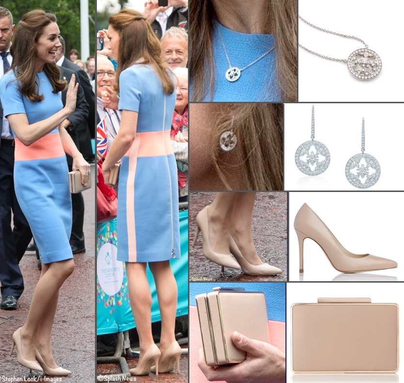 Kate Busy Week June Overall Ensemble Poll Montage Roksanda Blue Marwood Dress Patron's Lunch Montage July 7 2016