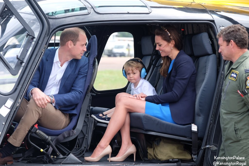 Kate William George Inside RAF Squirrel Helicopter Air Tattoo July 8 2016