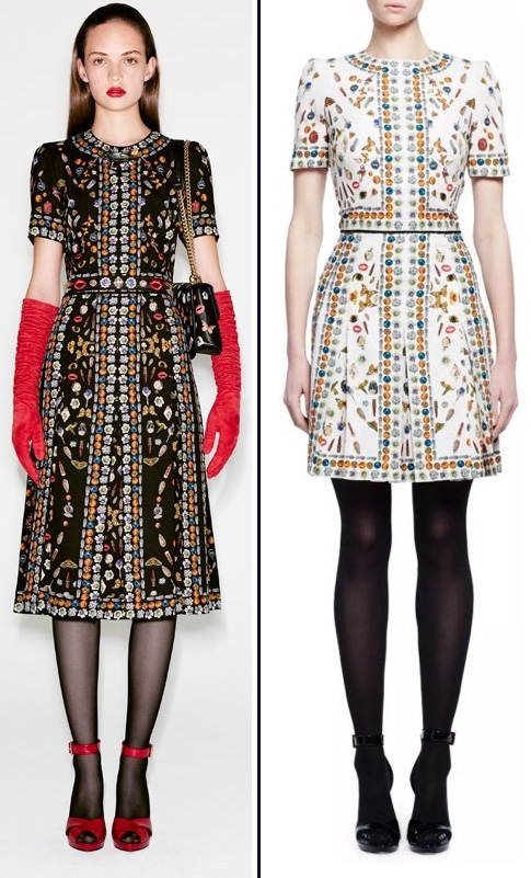 McQueen Obsessions Talisman Print Black Longer Version Shorter Ivory Dress Side by Side