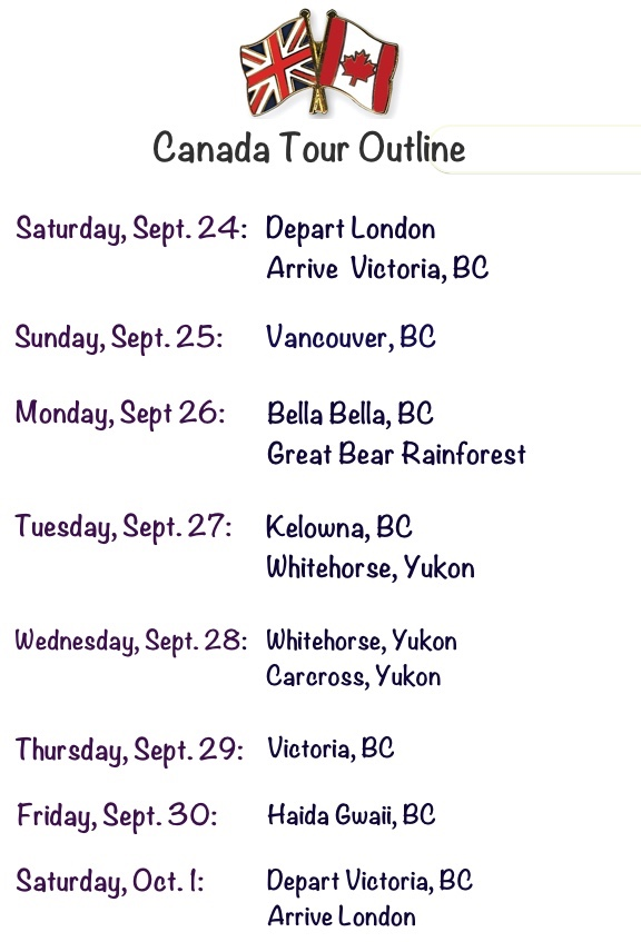 Corrected 2016 Canada Tour Graphic Listing Locations Cities by Date Aug 22 2016