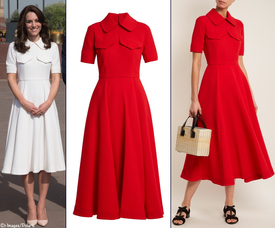 cbac712d25 Emilia Wickstead has created a red version of the white  Alice  dress worn  by Kate in India  it s available at Matches Fashion ( 1809).