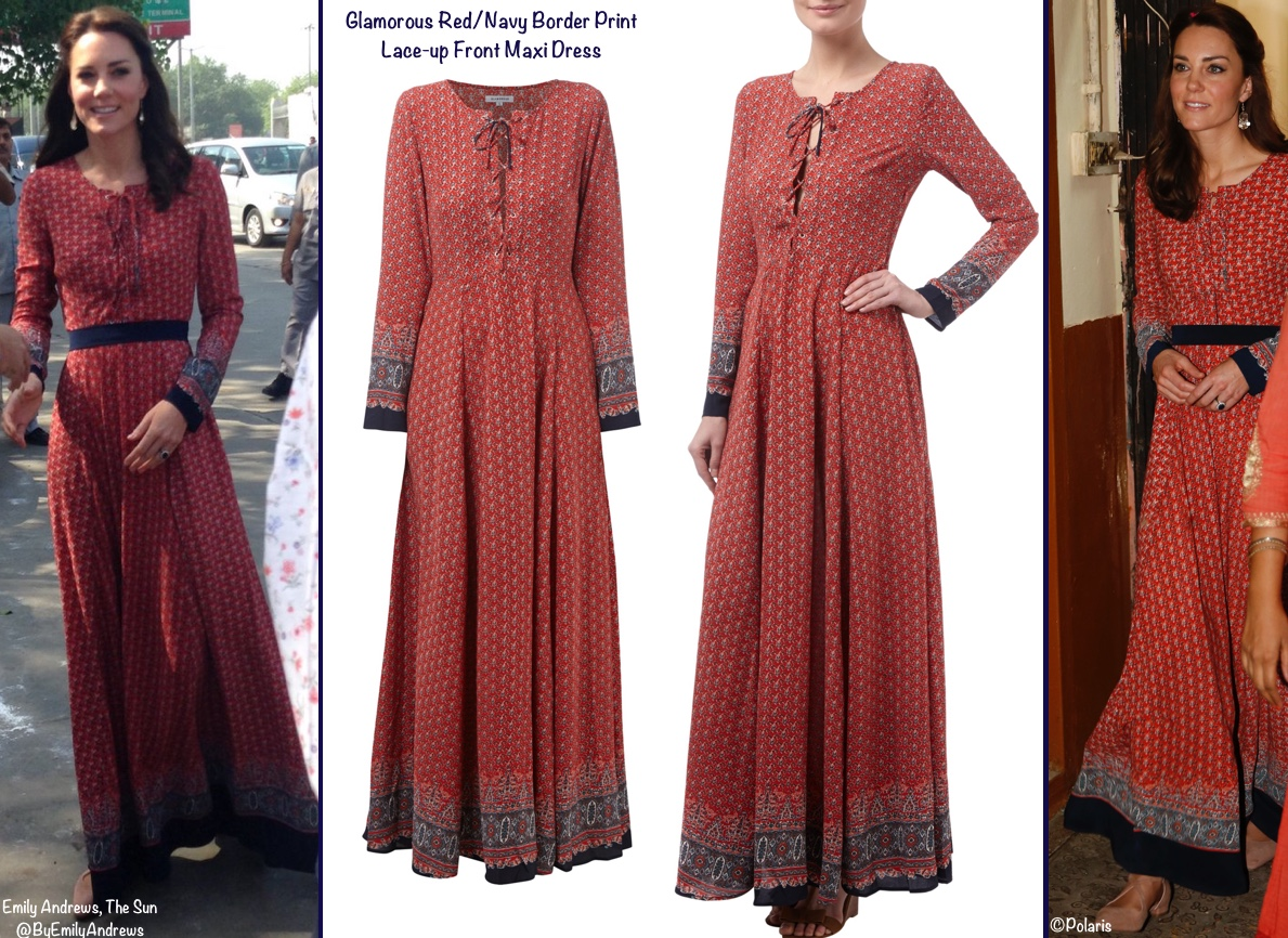 Kate India Day 3 Salaam Trust Delhi Train Station Glamorous Brand Red Navy Border Print Maxi Dress Montage 1200 x 870 copy