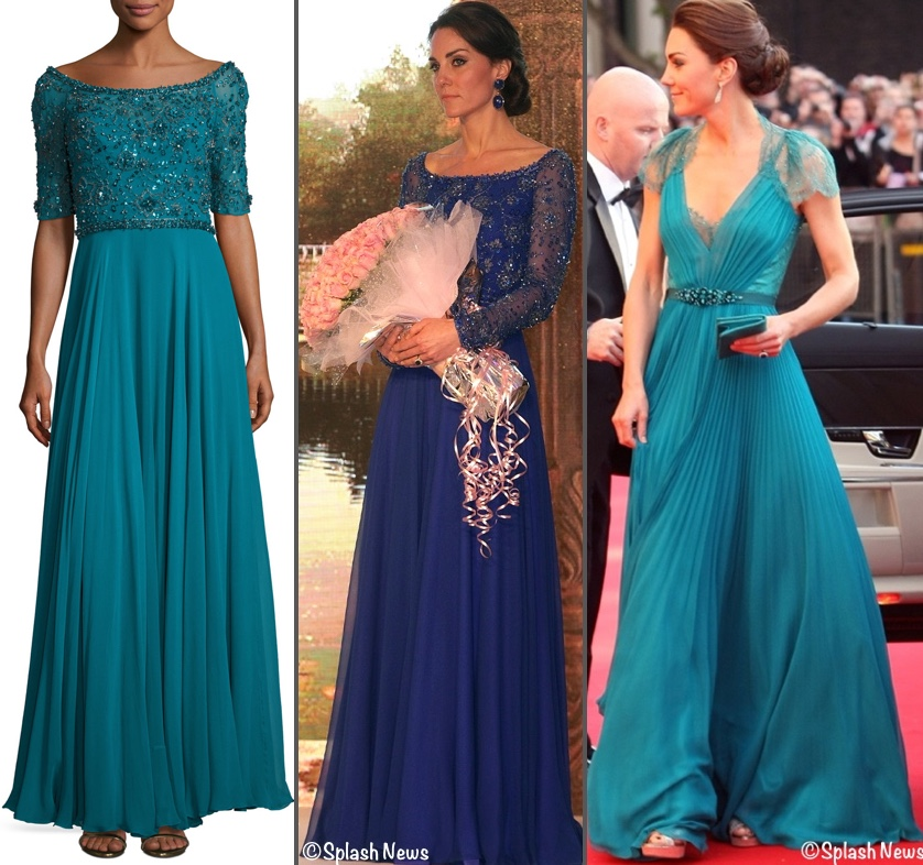 Kate Middleton Jenny Packham Evening Gowns blue and teal