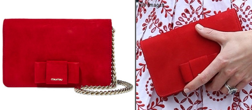 Kate Middleton Red Bow-Embellished Suede Bag Miu Miu