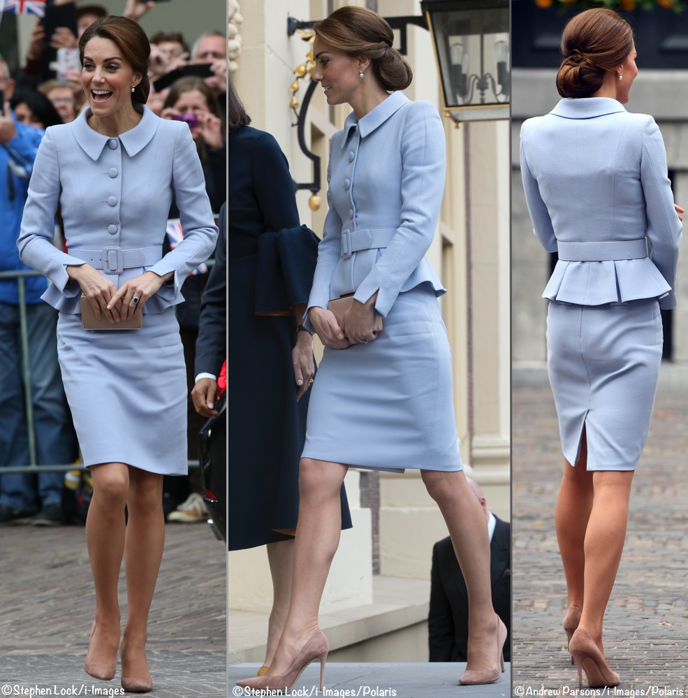 ae0c66215367 Kate in Cool Blue Catherine Walker for First Solo Overseas Trip - What Kate  Wore