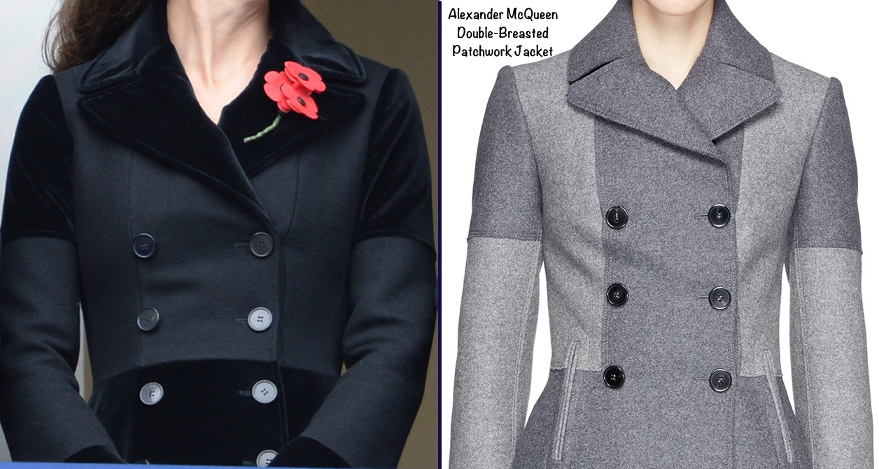 kate-bodice-mcqueen-coat-remembrance-sunday-with-patchwork-jacket-side-by-side
