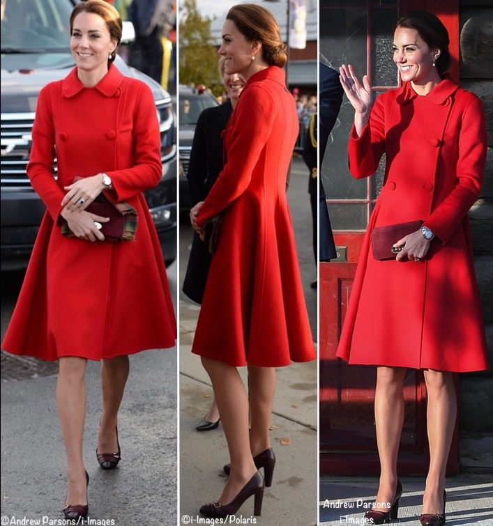 Kate CH Carolina Herrera Coat Canada Tour Three 3 shots