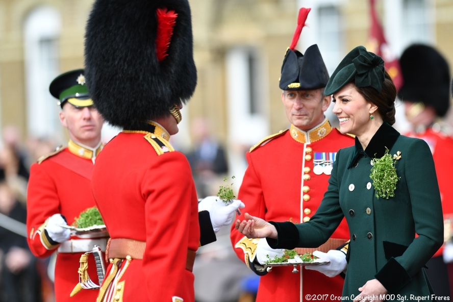 THE DUKE AND DUCHESS OF CAMBRIDGE CELEBRATE  ST PATRICKS DAY WITH IRISH GUARDS