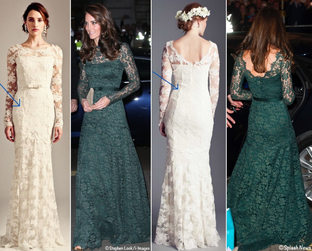 Kate Middleton lace evening gown pictures