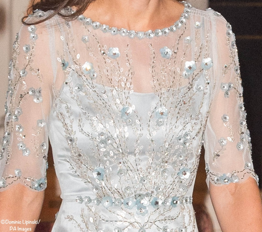 Kate Paris Bodice Bead Sequin Closeup Jenny packham March 17 2017 PA Images