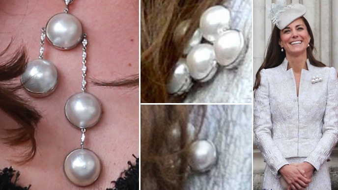Kate Pearl Necklace Paris Compared Trooping Colour 2014 Pearl Brooch Made March 20 2017