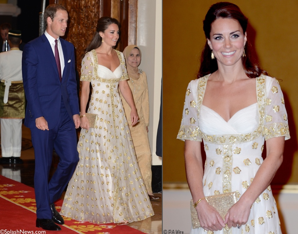 Malaysia state dinner in 2012 Kate Middleton McQueen gown