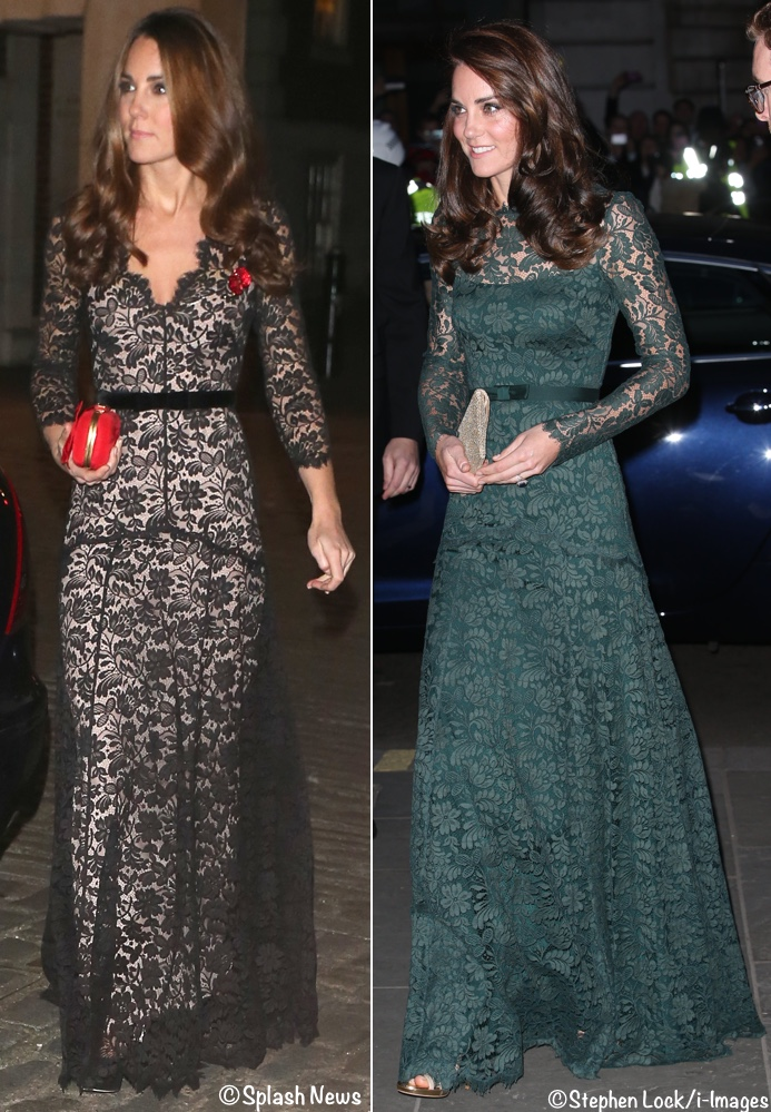 Duchess Kate Middleton lace evening gown photos