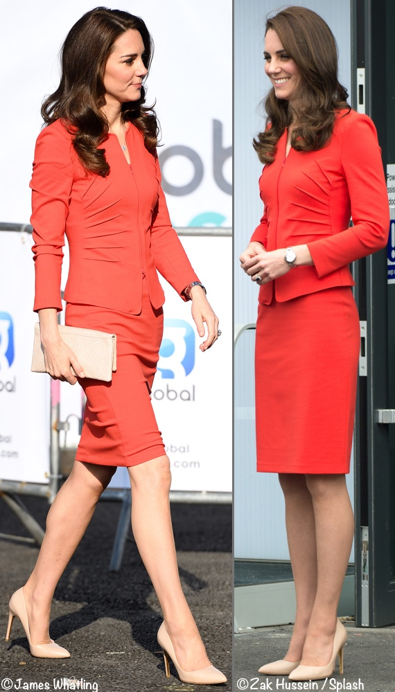 Kate Middleton red suit Armani Collezioni Global Academy