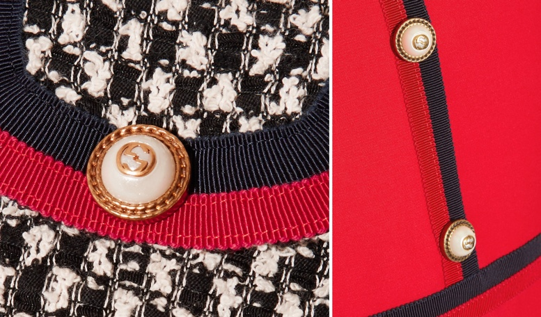 Gucci Grosgrain Trim Webbing Closeups Mini Dress Tweed and Red with Buttons
