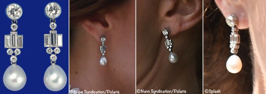Kate Middleton Queen Elizabeth Bahrain Diamond Pearl Deco Drop Earrings