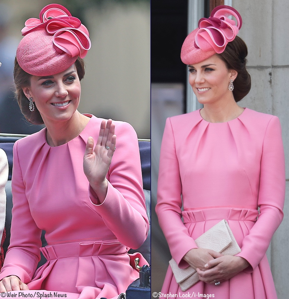 Kate Middleton Duchess Cambridge Pink Dress Trooping Colour 2017
