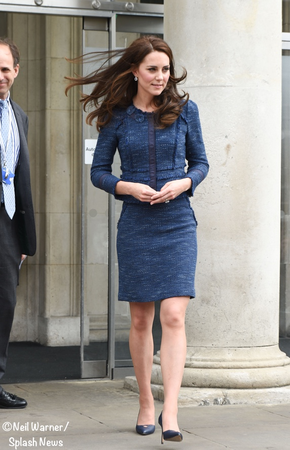 Kate Middleton Blue Sparkle Tweed Rebecca Taylor