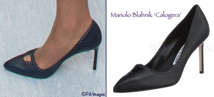 Kate Middleton navy blue Manolo Blahnik calogera shoes heels pictures