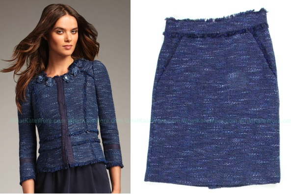 Kate Rebecca Taylor Navy Tweed Jacket Skirt 4-26-2012