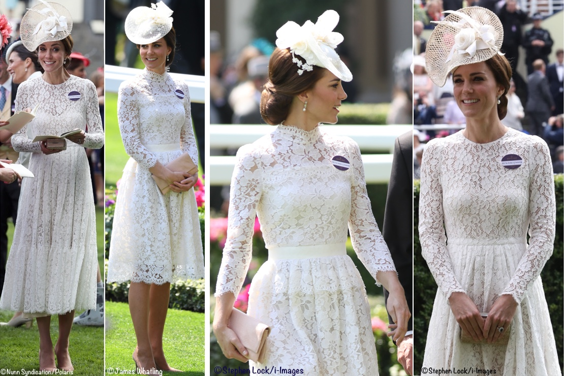 edf9bad04a8a Kate Middleton Duchess Cambridge Royal Ascot white Lace Dresses comparison  D&G Dolce Gabbana McQueen