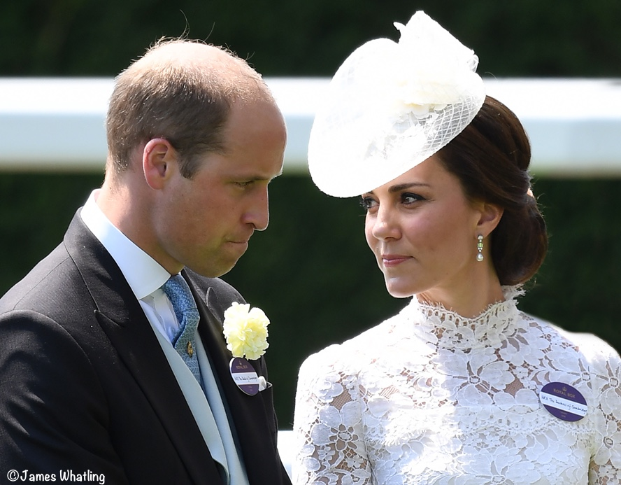 Duke Duchess Cambridge Royal Ascot Kate Middleton McQueen white lace