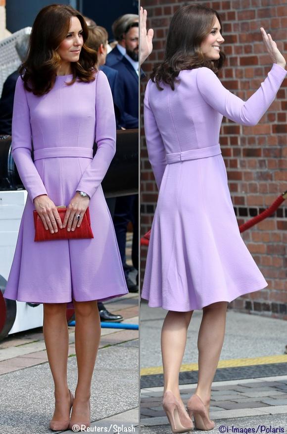 Duke Duchess Cambridge Kate Middleton Maritime Museum Purple Lavender Emilia Wickstead dress