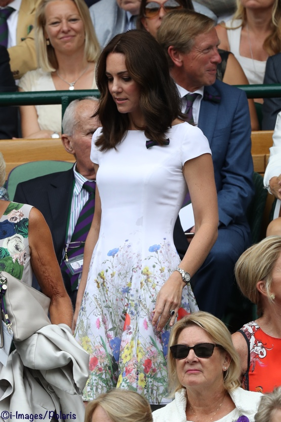 Kate Middleton Wimbledon White Flowers Dress