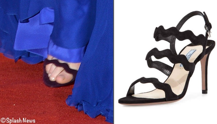 Kate India Tour Prada Black Suede Wavy Strap Sandal Blue Packham