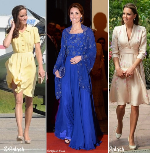 Kate Middleton Wearing 3 Jenny Packham Dresses Gowns on Tour