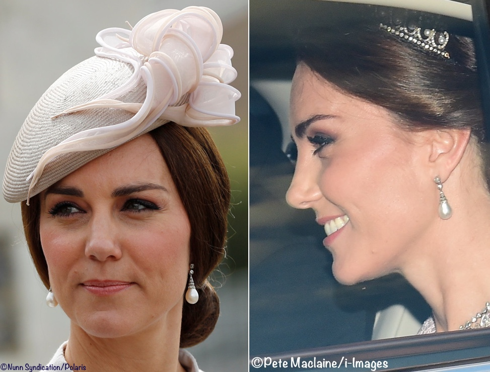 pictures photos Kate Middleton Duchess Cambridge Princess Diana's jewelry earrings tiara state dinner